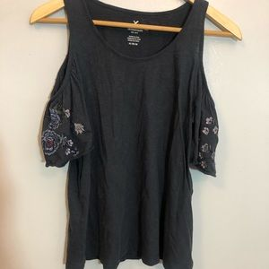 Blue American Eagle Outfitters cold shoulder top